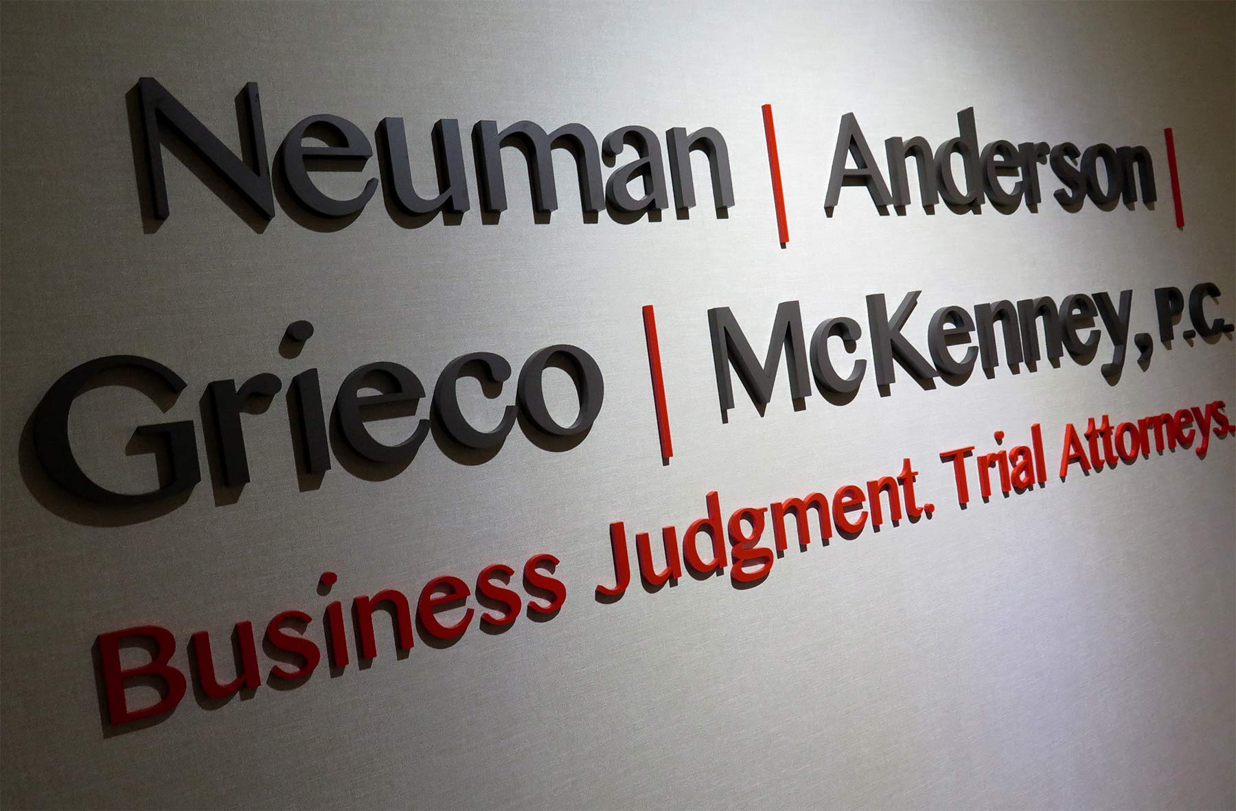reception sign for law firm in birmingham