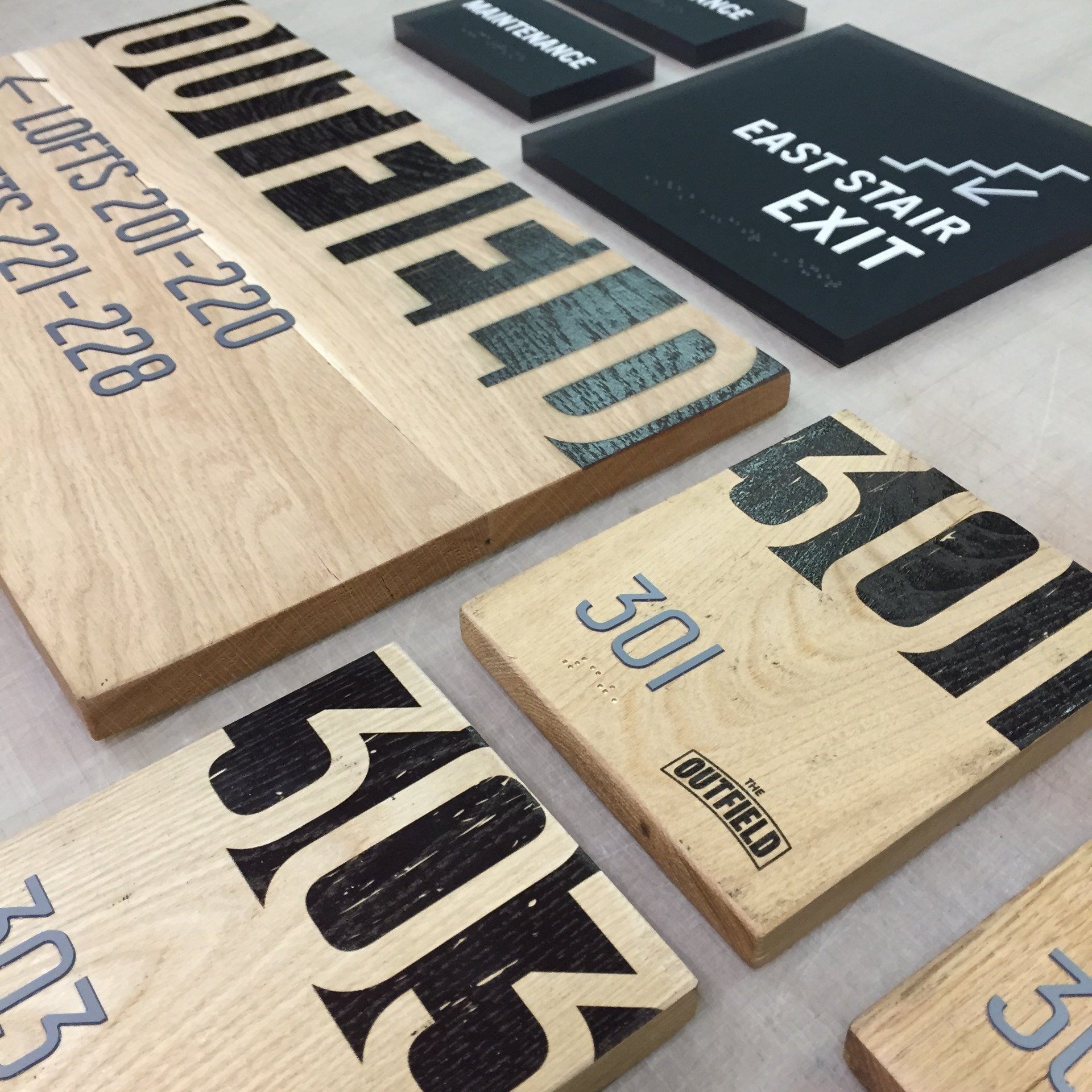 Outfield Lofts: Custom Wood ADA Signs Brand Ballpark Lofts - Ideation