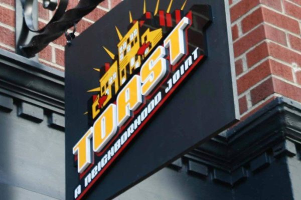 exterior sign for toast by ideation a birmingham sign company