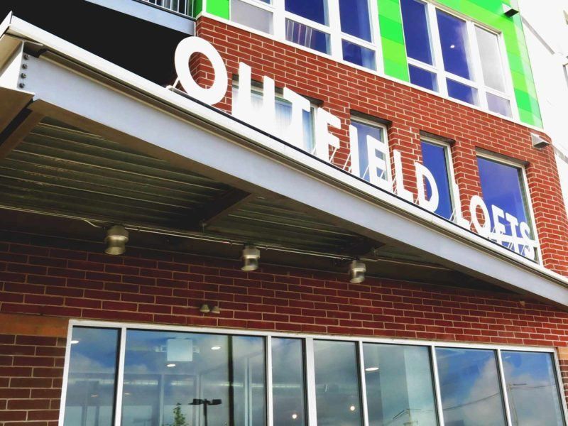 Outdoor sign outfield lofts by lansing sign company Ideation